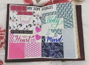 Bujo spread, 2019 goals, bullet Journal, lettering